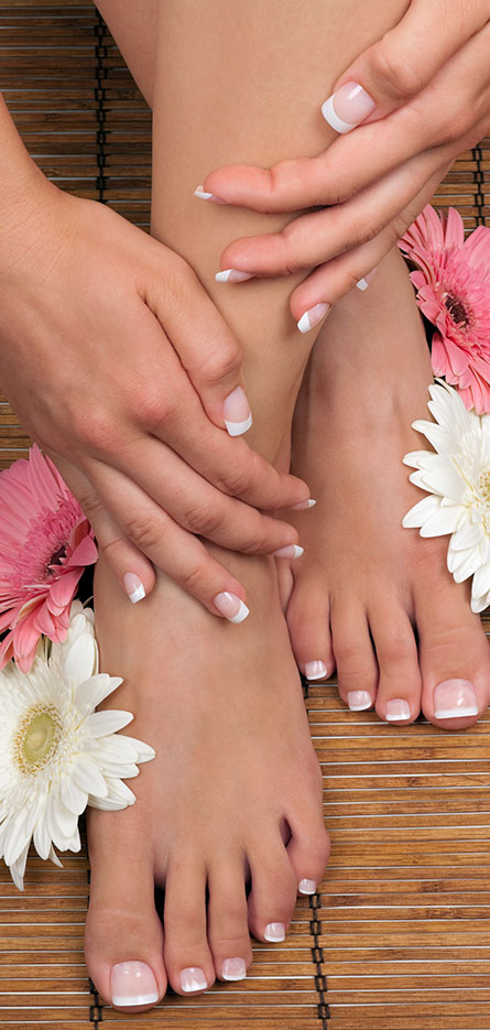 French Manicured nails and toenails