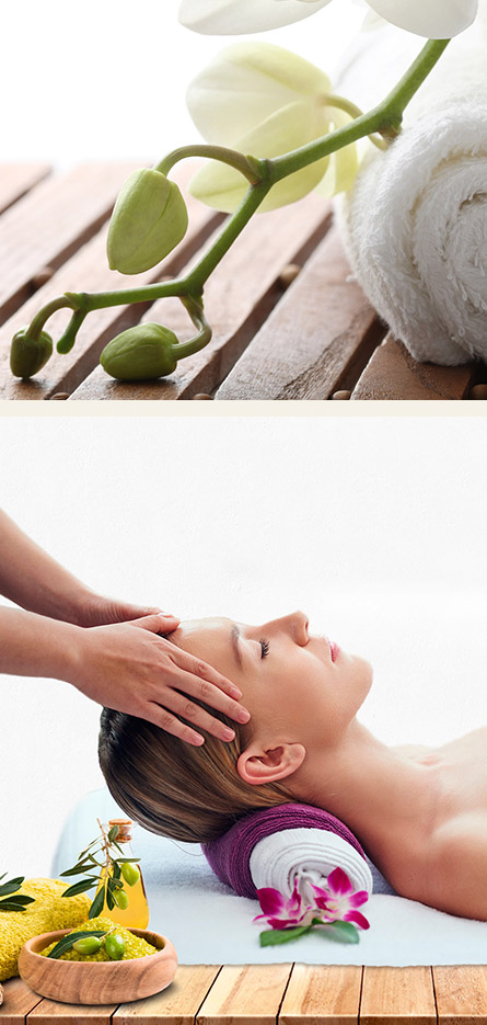 Person getting head massaged